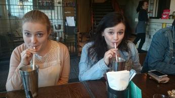 Katha and Jodie enjoying a milkshake!